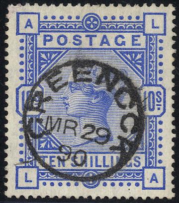 1883 10s ultramarine LA, VFU with Greenock c.d.s.