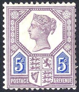 1887 Jubilee 5d dull purple & blue Die I
