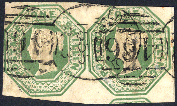 1847-54 1s pale green horizontal pair with Liverpool spoon cancels, SG.54.