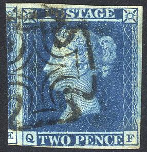 1841 2d blue - Plate 3 QF