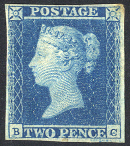 1841 2d blue - Plate 4 BC