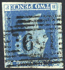 1841 2d blue - Plate 4 BF
