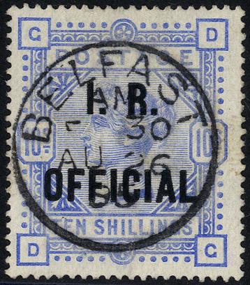 I.R OFFICIAL 1890 10s ultramarine, VFU