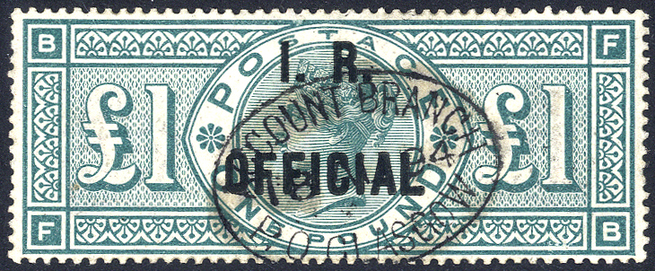 I.R OFFICIAL 1892 £1 green FB, VFU