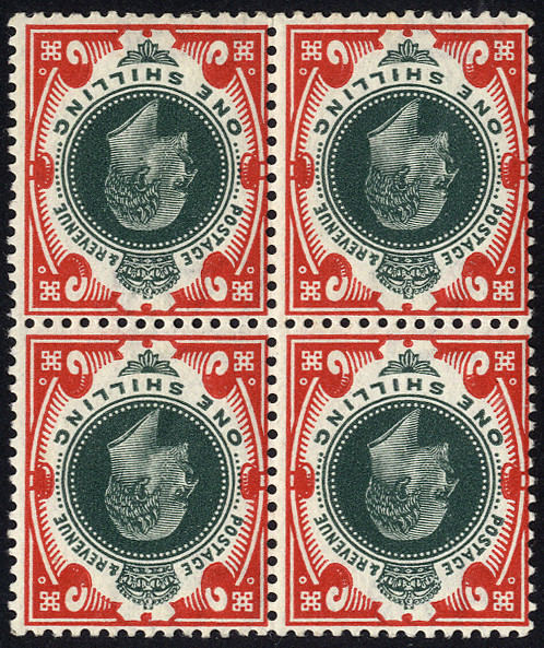 1911-13 1s deep green & scarlet wmk inverted block of four