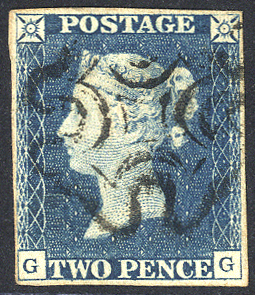 1840 2d blue - Plate 1 GG