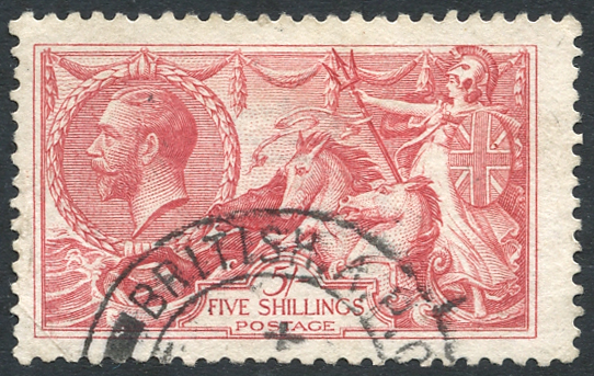 1918 Bradbury 5s rose-red, VFU