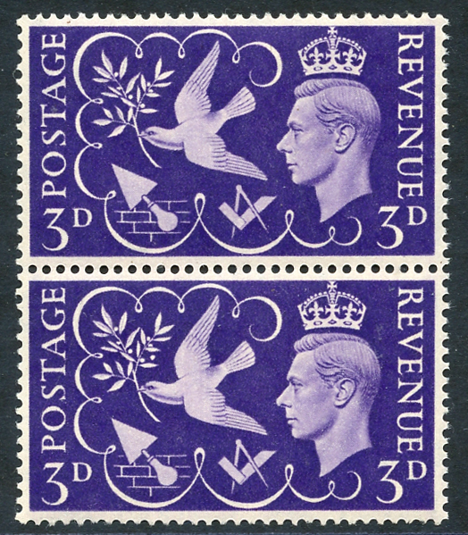 1946 Victory 3d violet, UM pair incl. variety