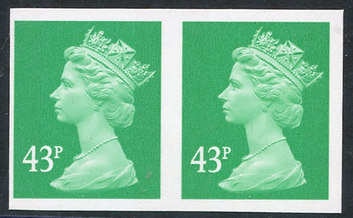 1993 43p emerald (two bands) horizontal Imperf pair UM