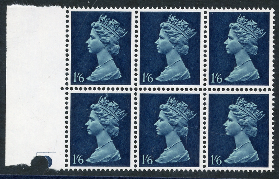 1967 Machin 1/6d greenish blue & deep blue PVA gum PHOSPHOR OMITTED