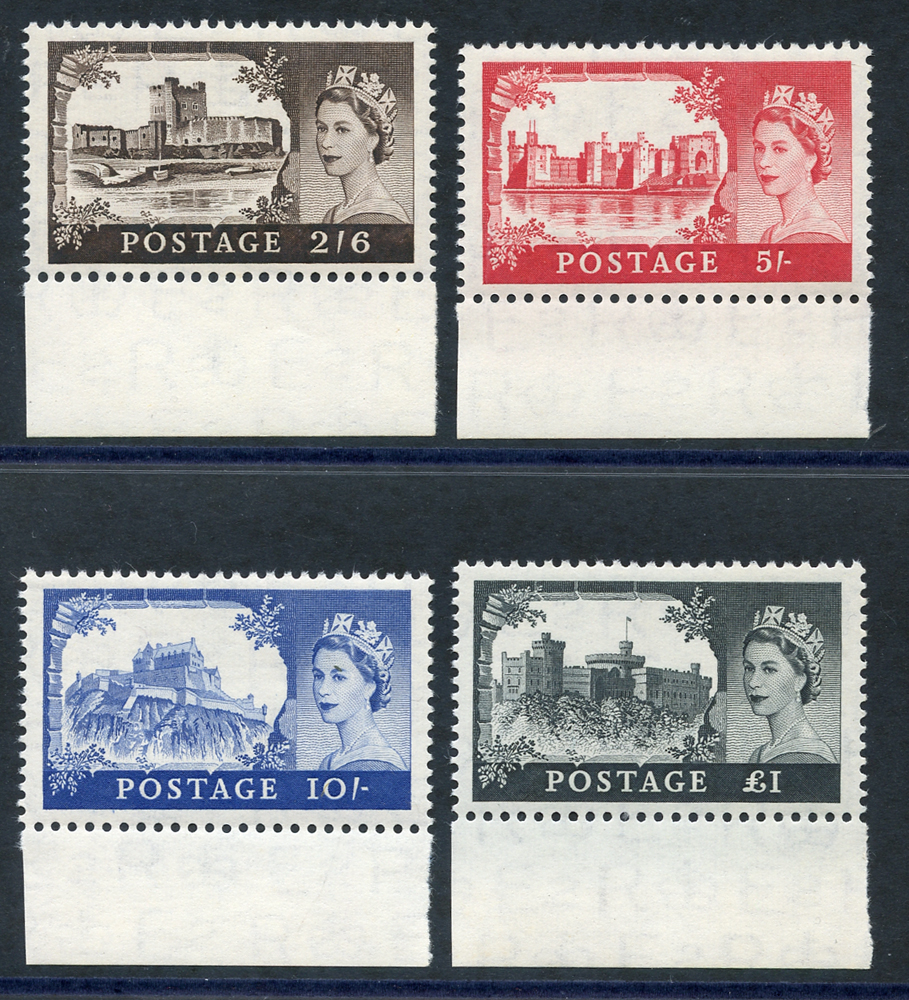 1958 1st DLR Castle set, each UM lower marginal examples