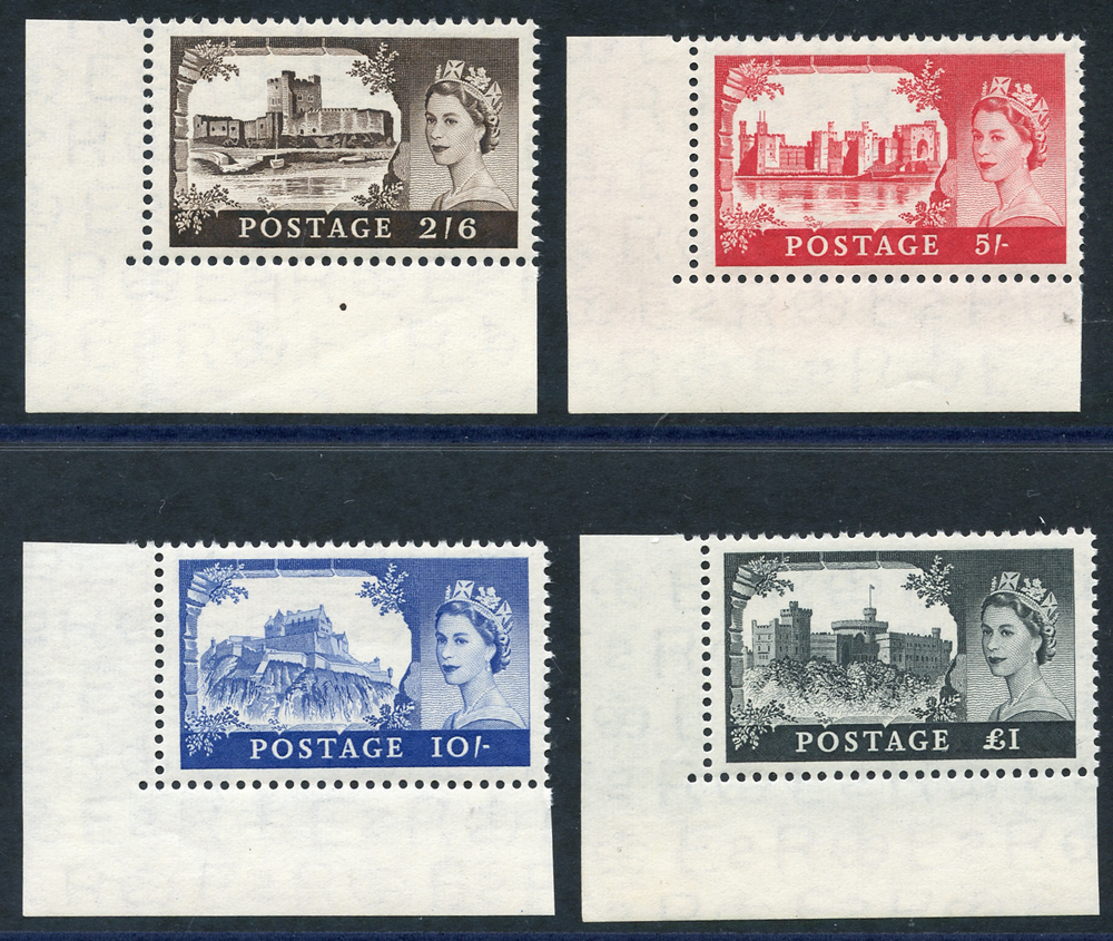 1958 1st DLR Castle set, each UM lower left corner marginal examples