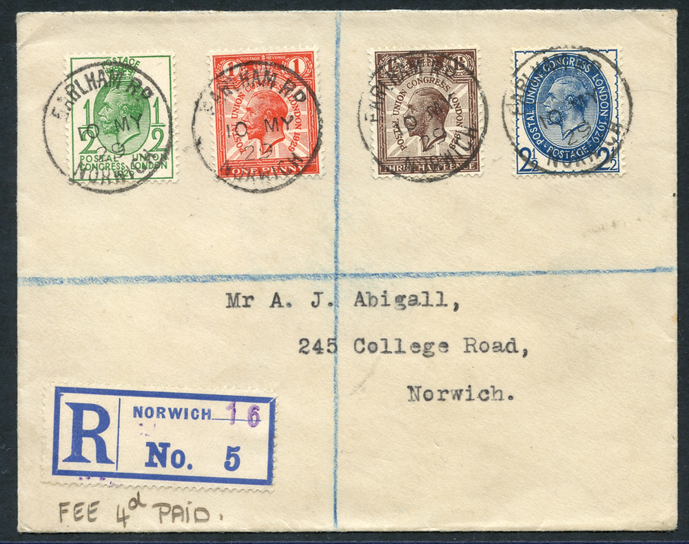 1929 PUC ½d to 2½d together on a registered cover