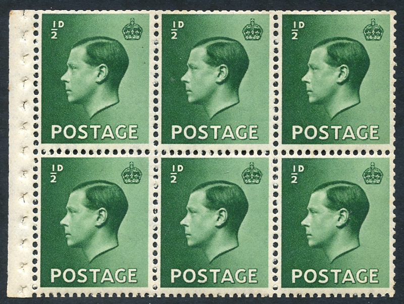 1936 ½d green UM booklet pane of six