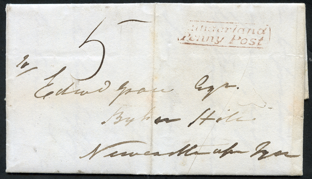 1834 entire letter from Sunderland to Newcastle upon Tyne