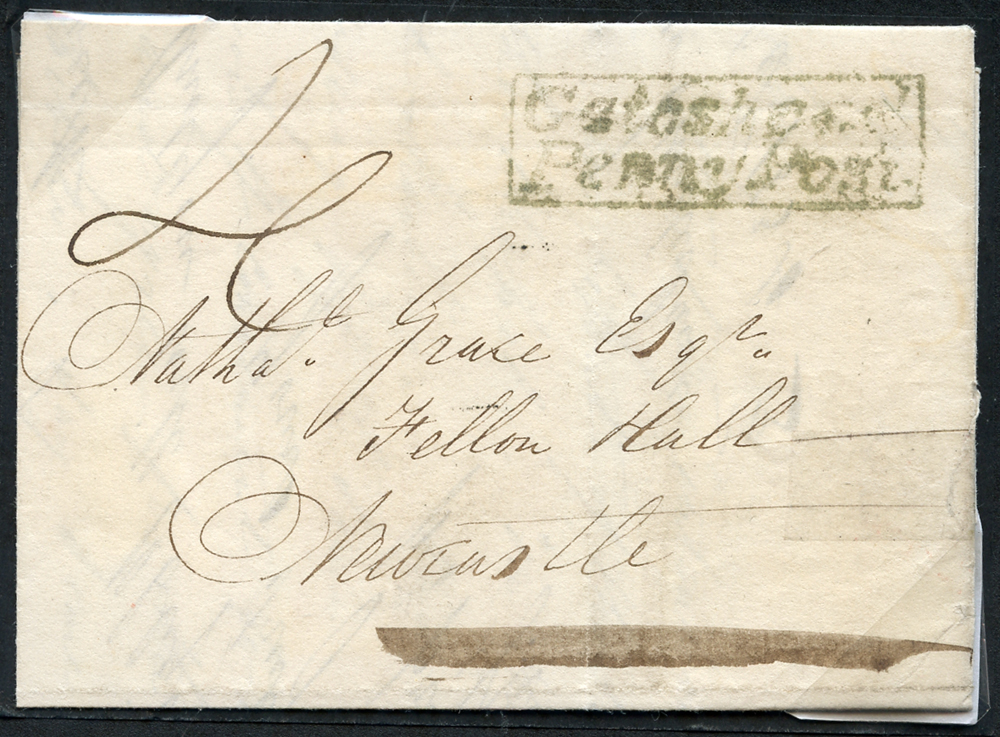 1834 October 11th cover from Sunderland to Felton Hall, Newcastle
