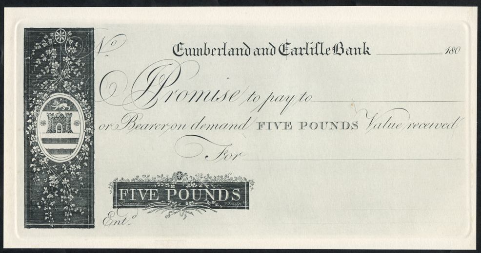 Cumberland & Carlisle Bank £5, dated 180X