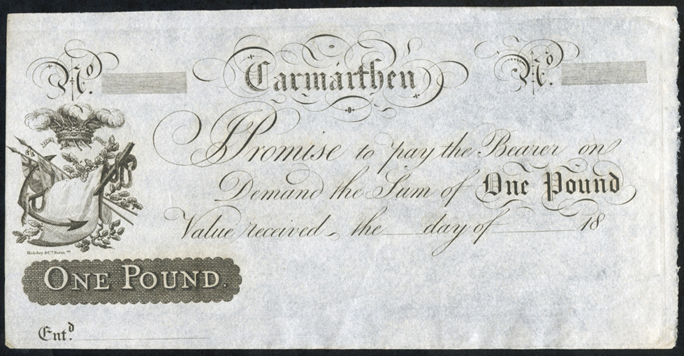 Carmarthen £1, unissued 18XX