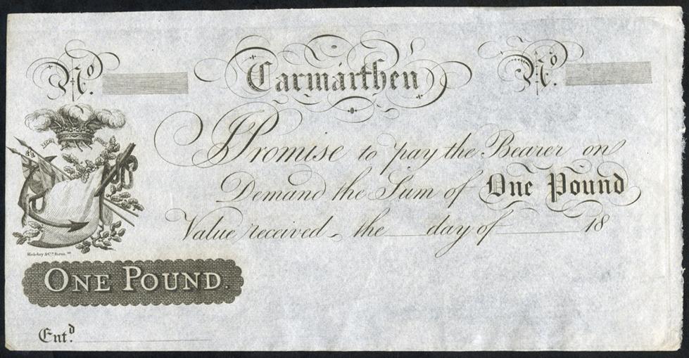 Carmarthen £1, unissued 18XX
