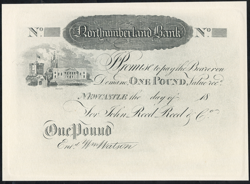 Newcastle, Northumberland Bank £1, dated 18XX