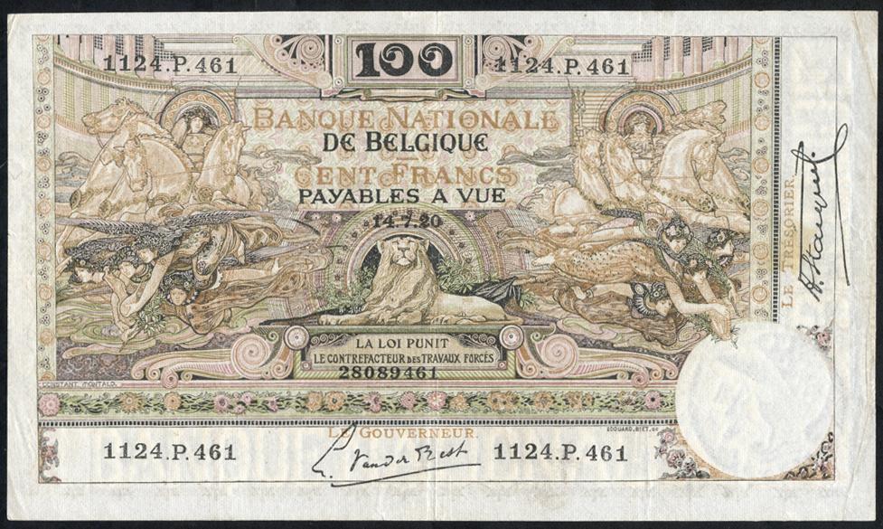 Belgium 100 francs 1920