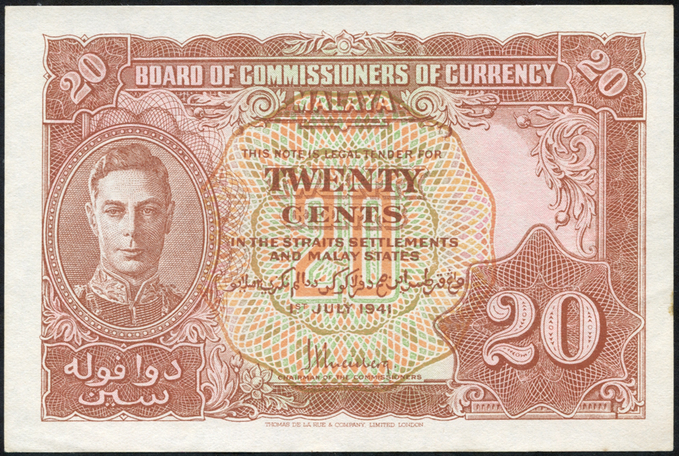 Malaya 20 cents KGVI, dated 1941