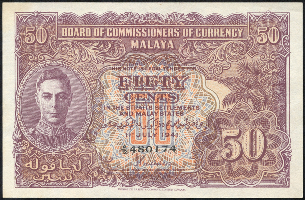 Malaya 50 cents KGVI, dated 1941