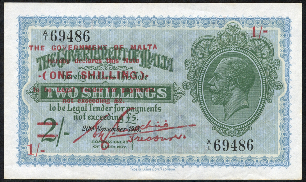 Malta 1 shilling on 2 shillings, 1940