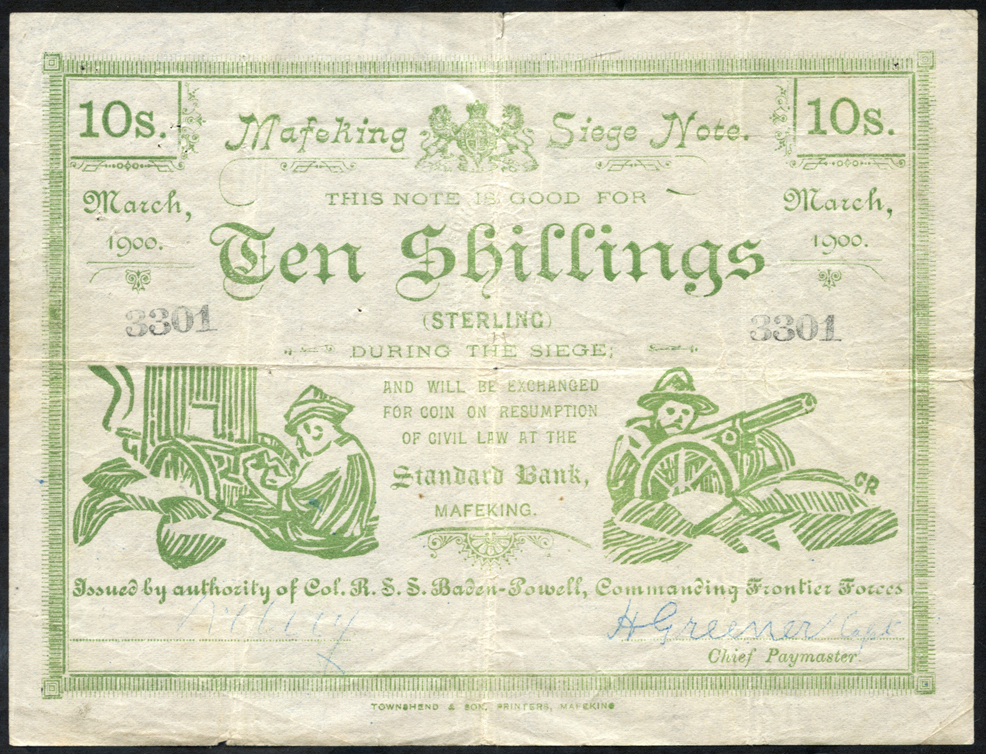South Africa 10 shilling Mafeking Siege note dated March 1900