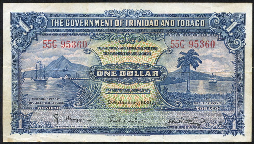 Trinidad & Tobago $1, dated 1939