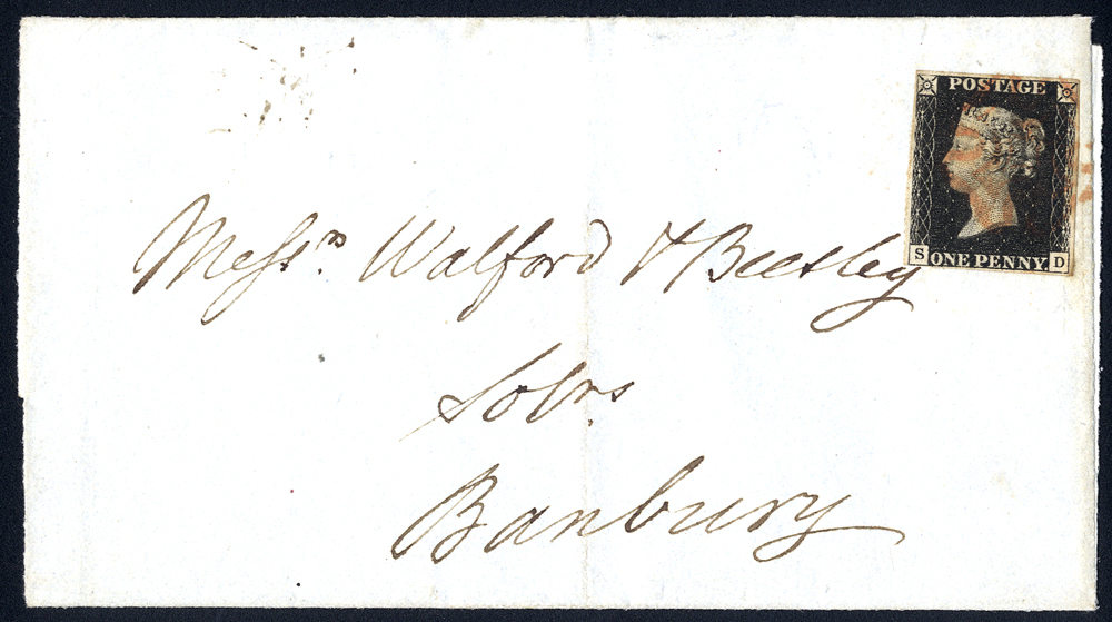 1840 cover to Banbury, franked Plate 6 SD
