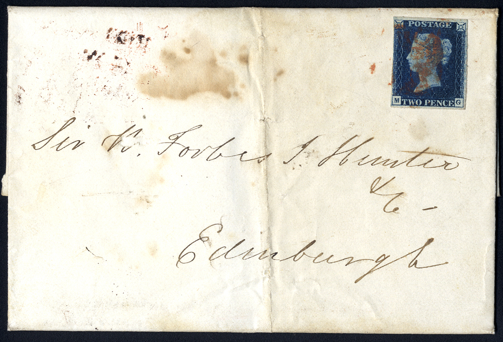 1841 cover from Glasgow to Edinburgh, franked Plate 1 MG