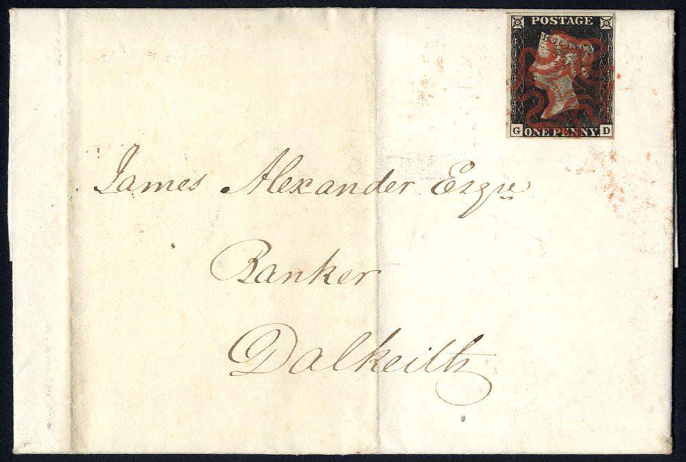 1840 cover used locally in Dalkeith, franked Plate 3 GD