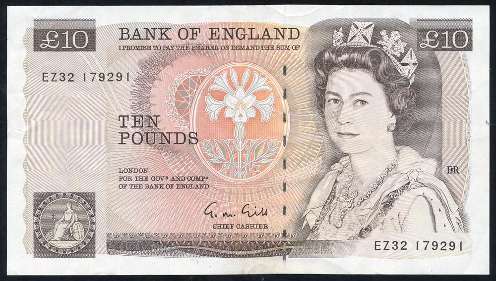 1988 Gill £10 brown (EZ32 179291), AEF.