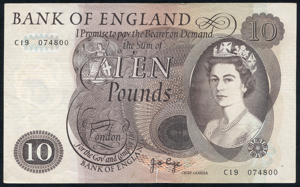 1971 Page £10 brown (C19 074800), VF.