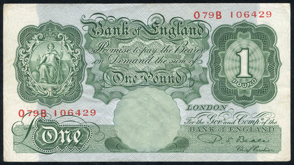 1950 Beale £1 green (O79B 106429), VF.