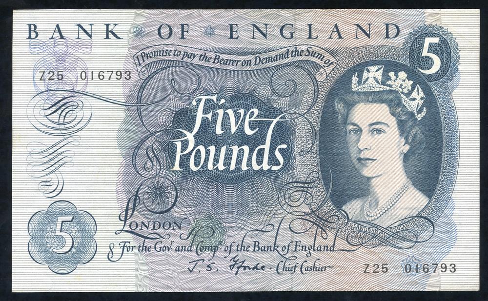 1967 Fforde £5 blue (Z25 016793), EF.