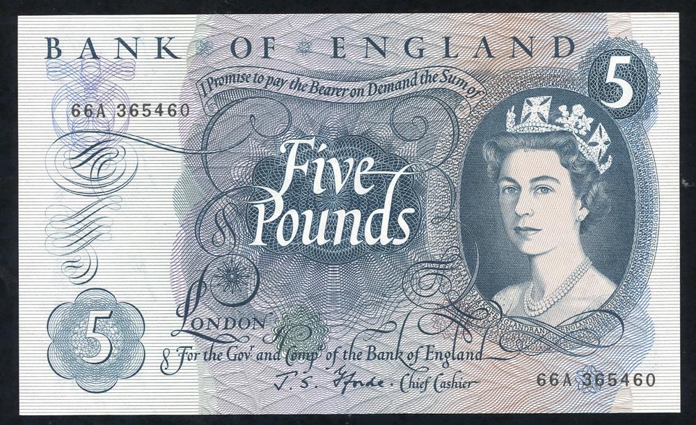 1967 Fforde £5 blue (66A 365460), aUNC