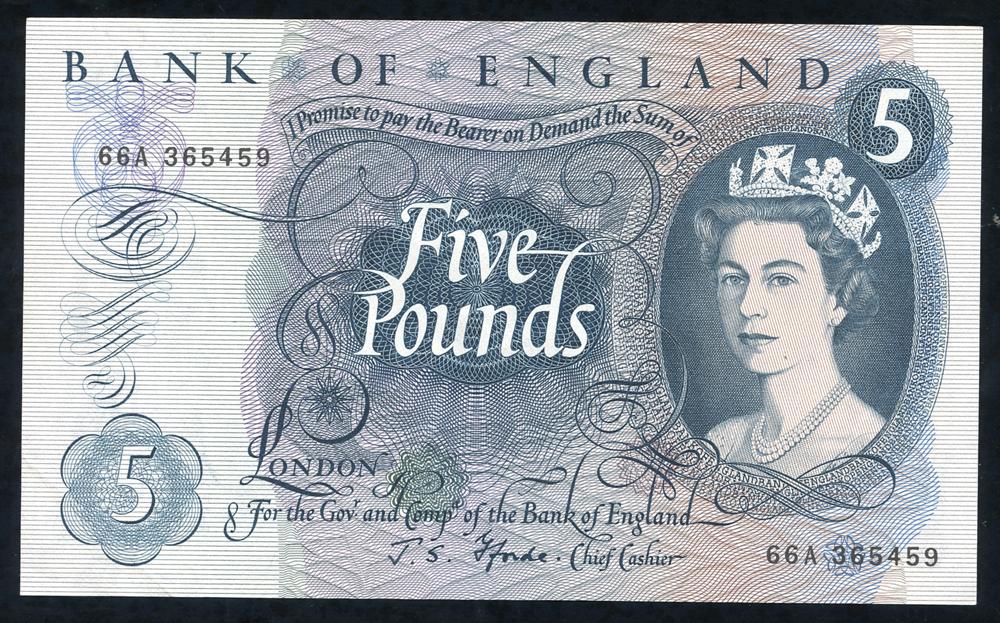 1967 Fforde £5 blue (66A 365459), UNC