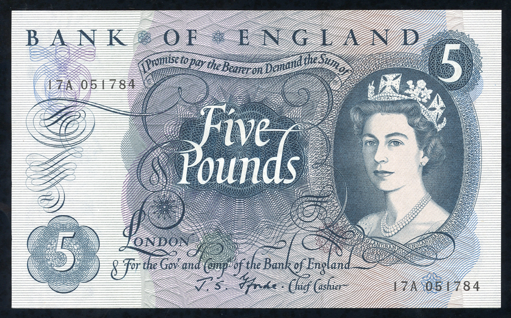 1967 Fforde £5 blue (17A 051784), EF
