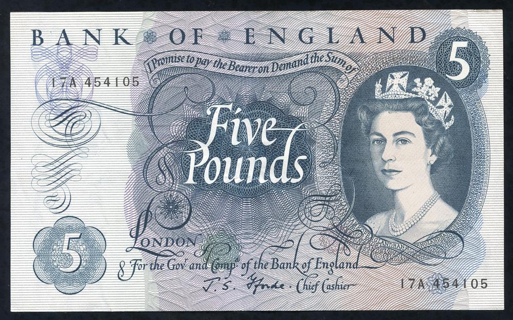 1967 Fforde £5 blue (17A 454105), EF,