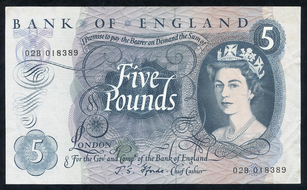 1967 Fforde £5 blue (02B 018389), VF+++
