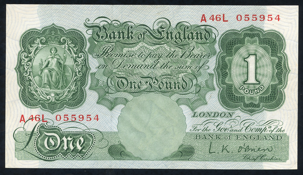 1955 O'Brien £1 green (A46L 055954), EF