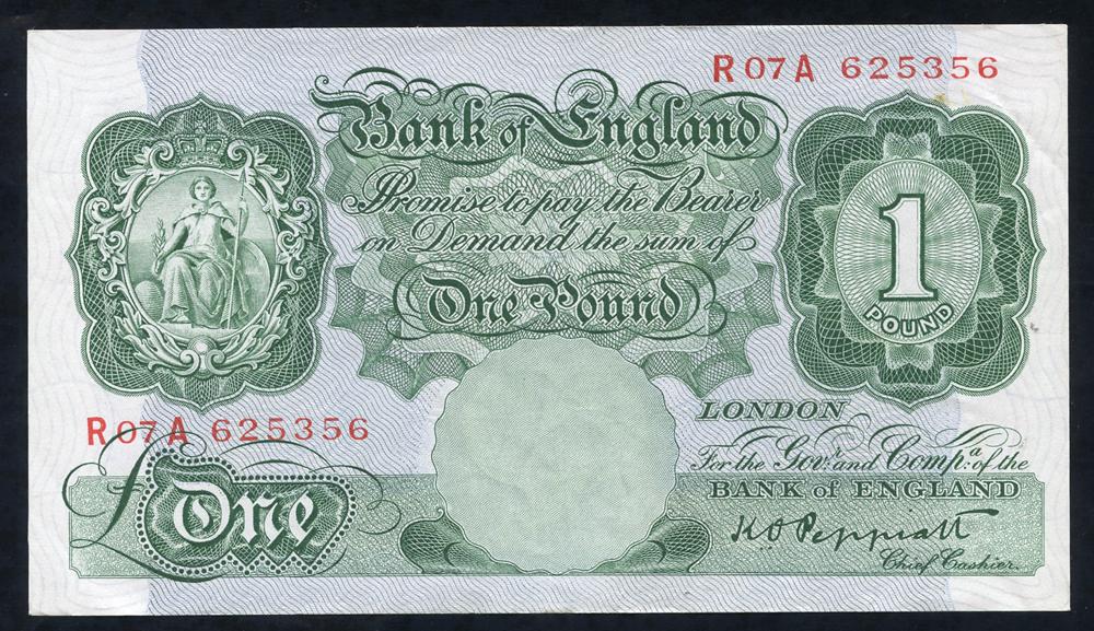 1948 Peppiatt £1 green (R07A 625356), aUNC