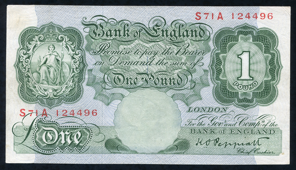 1948 Peppiatt £1 green (S71A 124496), Nr EF