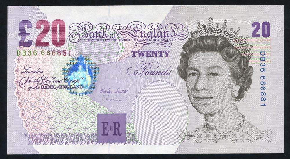 1999 Lowther £20 Elgar (DB36 686881), aUNC