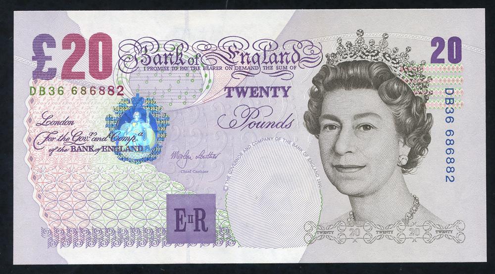 1999 Lowther £20 Elgar (DB36 686882), aUNC