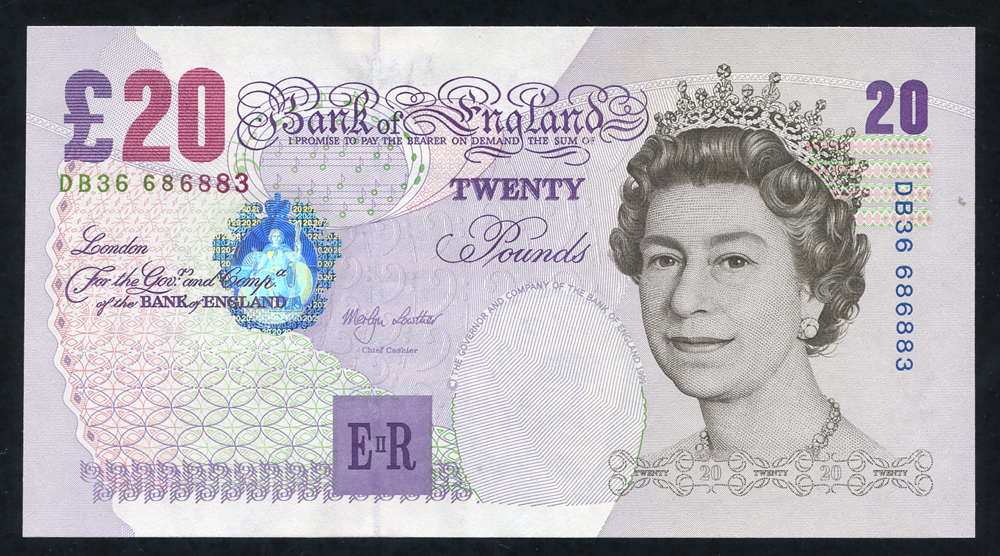 1999 Lowther £20 Elgar (DB36 686883), aUNC