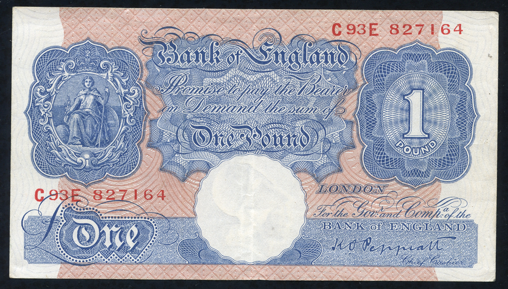 1940 Peppiatt £1 blue/pink (C93E 827164), VF++