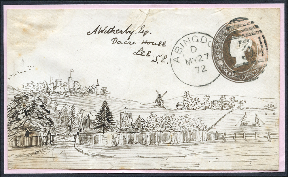 1872 1d pink envelope front, Abingdon duplex, pen & ink illustration